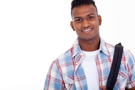portrait of handsome indian teenage high school student on white background Stock Photo - 20235313