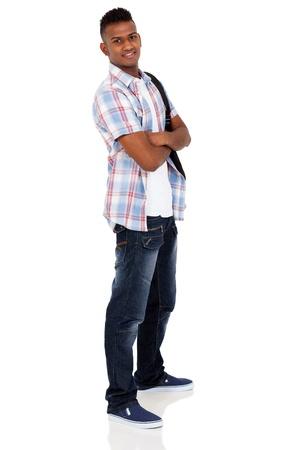 handsome indian university student isolated on white background