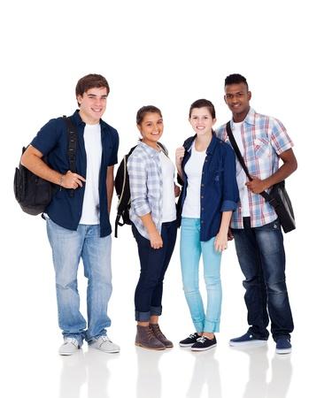high school students: grupo de la diversidad de los ni?os y las ni?as adolescentes aislados sobre fondo blanco Foto de archivo