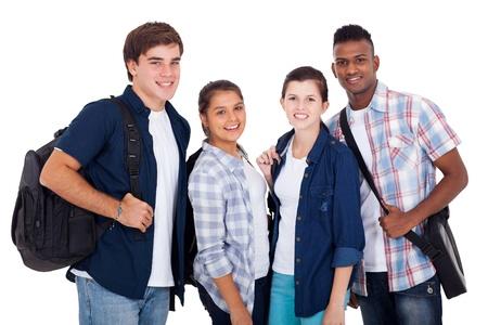 high school students: grupo de la diversidad de los ni�os y las ni�as adolescentes aislados sobre fondo blanco Foto de archivo