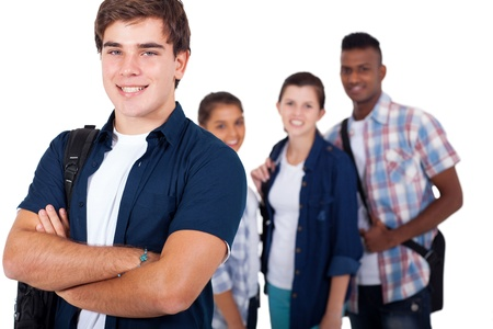 handsome high school student with friends over white background photo