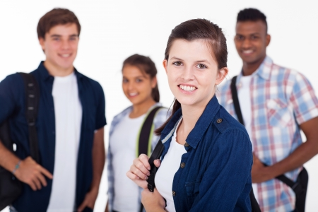 happy high school students isolated on background Stock Photo - 20235307