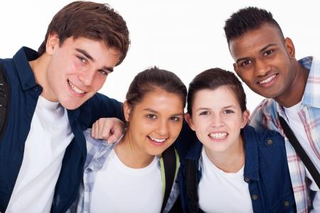 high school students: closeup portrait of smiling high school students isolated on white Stock Photo