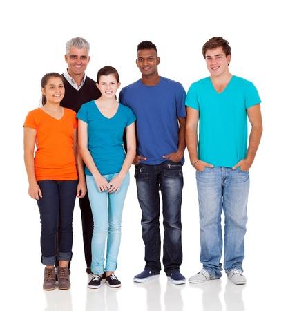 ležérní: vedoucí učitel a dospívající studenty izolovaných na bílém Reklamní fotografie