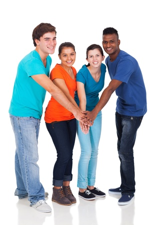 happy high school students hands together isolated on white