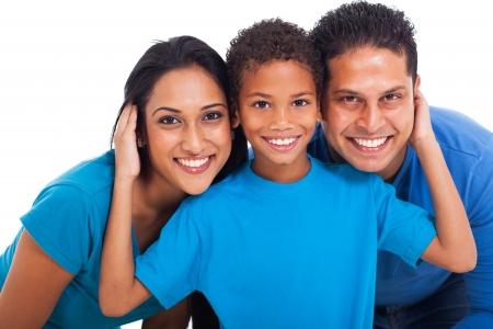close-up portret van gelukkige Indische familie Stockfoto