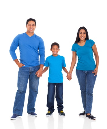 cheerful young indian family holding hands on white background photo
