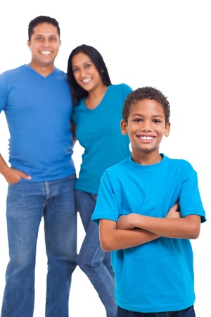 cute young boy standing in front of his parents over white background Stock Photo - 20357719
