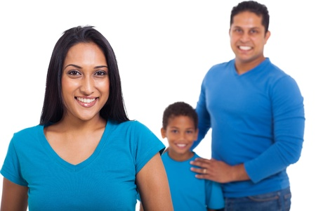 beautiful indian woman with her family over white background Stock Photo - 20357716