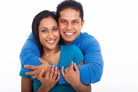 wives: portrait of loving couple embracing isolated on white background Stock Photo