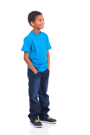 boy body: cute indian little boy looking up isolated over white background