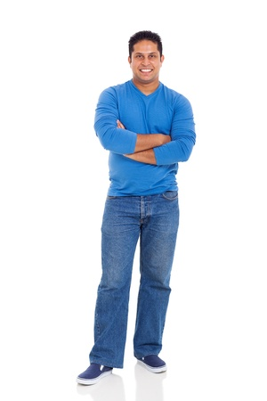 cheerful indian man with arms crossed isolated on white photo