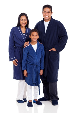 nightclothes: cute indian family wearing nightclothes isolated on white background