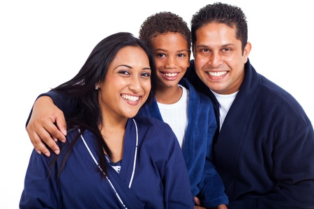 close up portrait of indian family in pajamas on white background photo