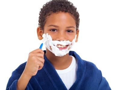 African children: vui tươi ít Phi gương mặt trẻ boy cạo trên nền trắng