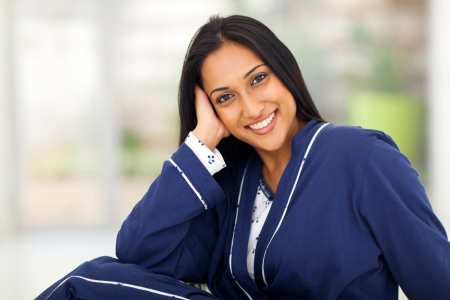 nightclothes: portrait of young indian woman in pajamas at home Stock Photo