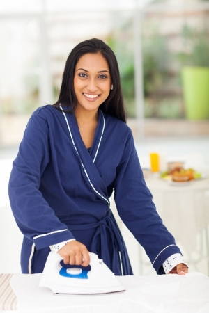 portrait of beautiful indian woman ironing clothes Stock Photo - 20356582