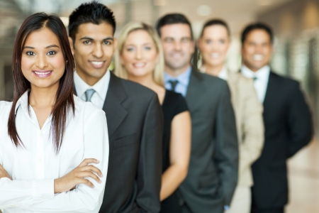 people in a row: group of business team standing in a row Stock Photo