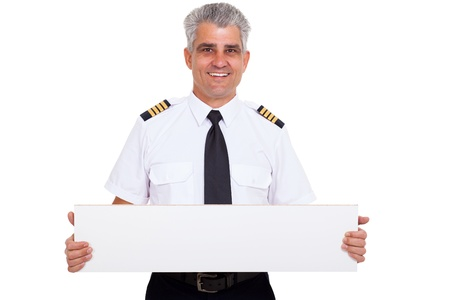 close up portrait of senior captain presenting blank white board photo