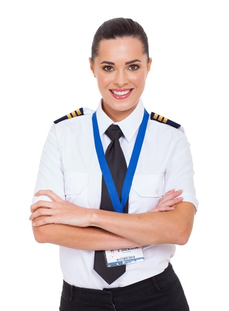 beautiful woman airline pilot with arms crossed photo