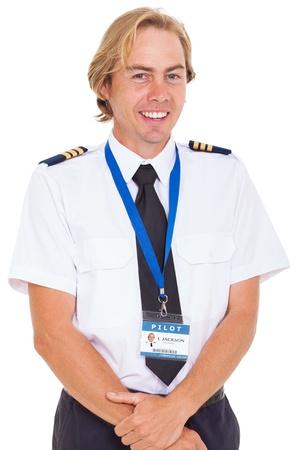epaulettes: cheerful pilot wearing uniform with epaulettes isolated on white