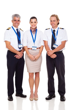 airline crew of pilots and flight attendant on white background photo