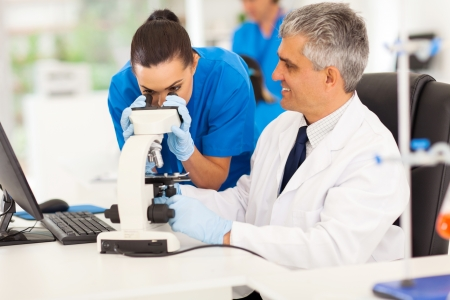 research worker: senior medical researcher helping junior lab technician in lab Stock Photo