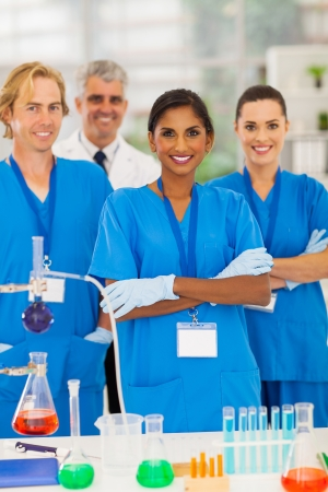group of lab technicians in modern lab photo