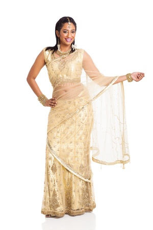beautiful indian lady posing in saree isolated on white background Stock Photo - 21123010