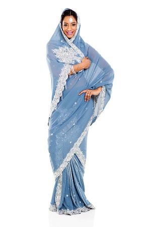 attractive indian woman in sari isolated on white photo