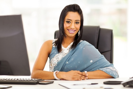 modern indian businesswoman in traditional sari  photo