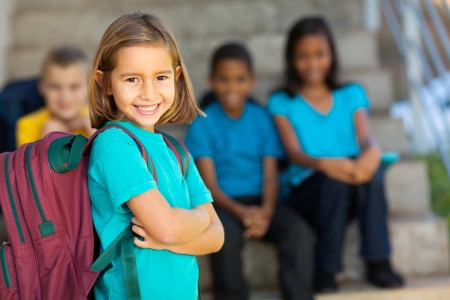 portrait of pretty preschool girl with backpack outdoors photo