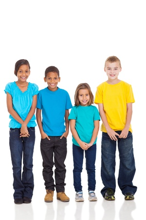 learners: group of children in bright t-shirt isolate on white background