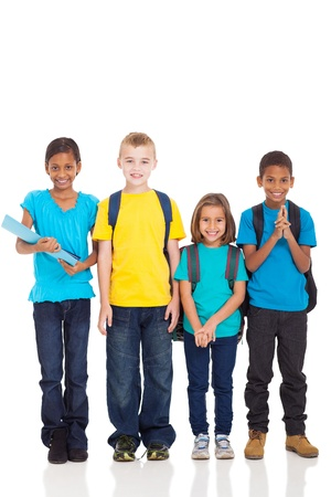 portrait of smiling school children standing on white background photo