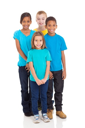 diverse people: group of smiling kids standing together on white background