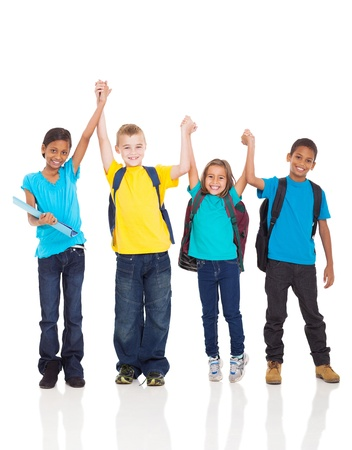 elementary students: portrait of happy kids with hands up isolated on white Stock Photo