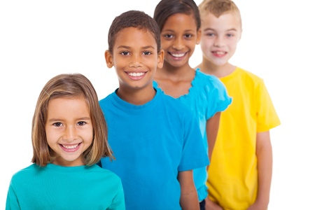 diverse group of people: group of multiracial children portrait in studio on white background Stock Photo
