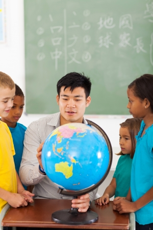 asian teacher: group elementary school students and teacher looking at globe in classroom
