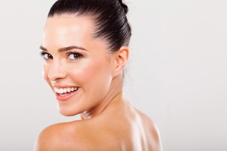 clear skin: close up portrait of beautiful young happy woman Stock Photo