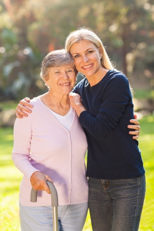 seniors homes: beautiful mature woman with her senior mother outdoors