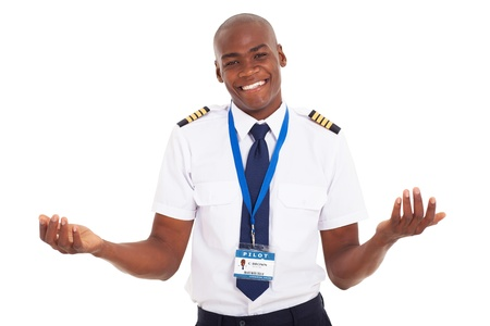 american airlines: smiling young african pilot isolated on white