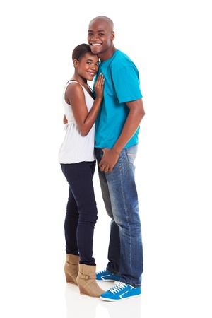 beautiful young african american couple isolated on white photo