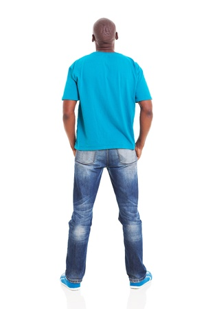 rear view of young african man isolated on white background photo