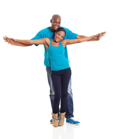 beautiful african american couple on white background photo