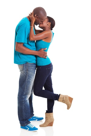 intimate young afro american couple kissing