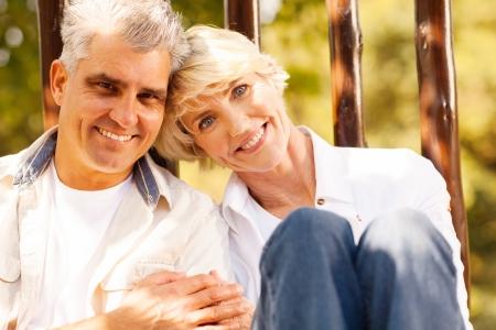 portrait of loving senior couple outdoors  photo