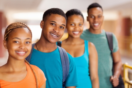african american ethnicity: group of african university students close up Stock Photo
