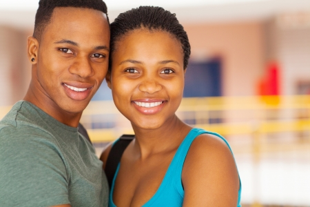beautiful young african couple in college photo