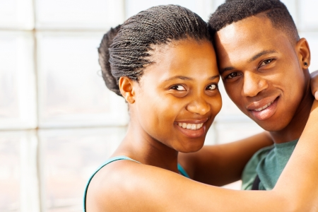 beautiful african couple close up portrait photo