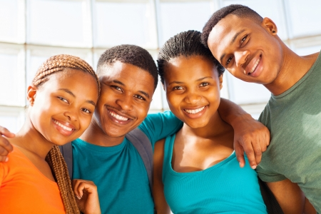 handsome student: group of happy young african american students